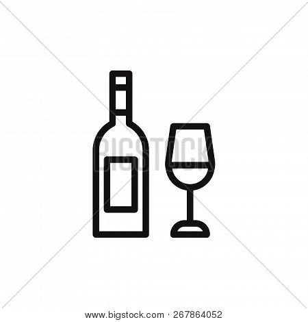 Wine Bottle With Glass Icon Isolated On White Background. Wine Bottle With Glass Icon In Trendy Desi
