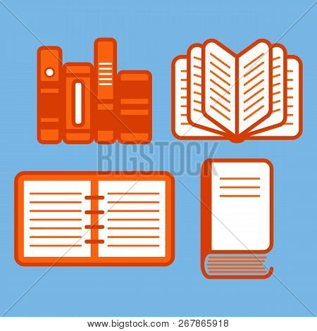 A Set Of Vector Icons Of Books. Ebook. Signs For Web Design. Characters