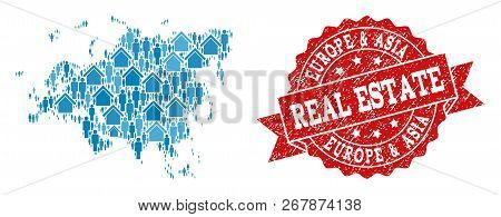 Real Estate Collage Of Blue Mosaic Map Of Europe And Asia And Rubber Seal. Vector Red Seal With Dist