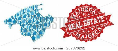 Real Estate Combination Of Blue Mosaic Map Of Majorca And Unclean Seal. Vector Red Seal With Grunge