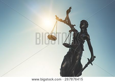 Lady Justice. Statue Of Justice, Themis On Sky