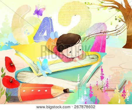 Portrait of boy laying on book