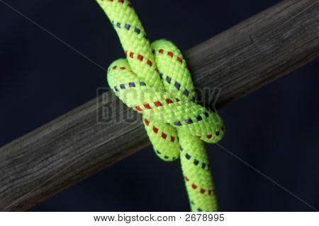 Bright Rope Tied Around Wood