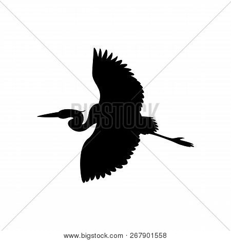 The Heron Is Flying Vector Illustration  Black Silhouette Profile View