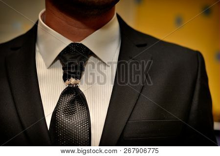 Expensive Suit. Classically Tie And Luxury Tie Clip