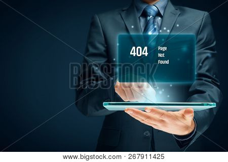 Http 404 Error Not Found Page Template Concept. Error Page 404 Message And Businessperson With Digit