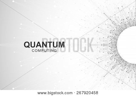 Quantum computer technology concept. Deep learning artificial intelligence. Big data algorithms visualization for business, science, technology. Waves flow, dots, lines. Quantum vector illustration poster