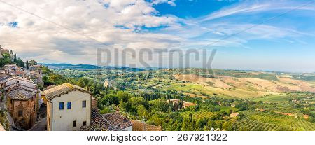 Panoramic View At The Tuscany Nature From Montepulciano, Italy