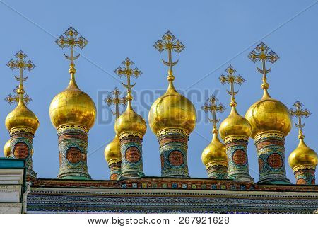 Moscow, Russia - September 13, 2018: Landscape With View On Domes Of The Cathedrals Of The Moscow Kr