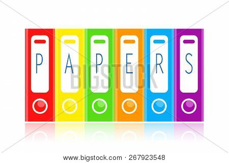 Color Office Folders For Papers Isolated On White Background