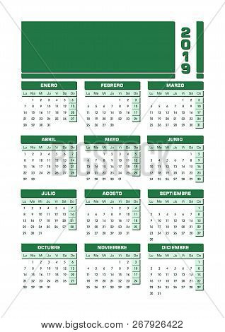 Calendario Julio 2019 Vector.Green 2019 Spanish Vector Photo Free Trial Bigstock