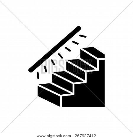 Vector Illustration Of Stairway Lighting. Flat Icon Of Linear Stair Lights. Home & Office Lighting.
