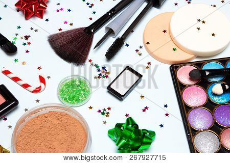 Bright Glistening New Year Party Make Up. Cosmetics And Accessories. Close Up, Selective Focus