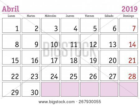 526b037f1 April Month In A Year 2019 Wall Calendar In Spanish. Abril 2019. Calendario  2019