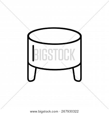Black & White Vector Illustration Of Round Leather Ottoman, Pouf. Line Icon Of Accent Stool Or Chair
