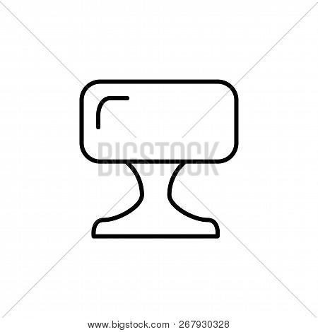 Black & White Vector Illustration Of Square Leather Ottoman, Pouf. Line Icon Of Accent Stool Or Chai
