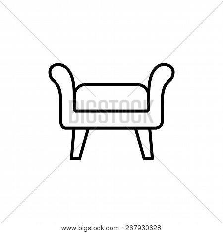 Black & White Vector Illustration Of Fabric Ottoman, Pouf. Line Icon Of Accent Stool Or Chair. Livin