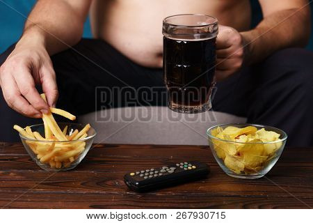Overeating, Sedentary Lifestyle, Hormonal Disorder, Alcohol Addiction, Bad Habits. Fat Overweight Ma