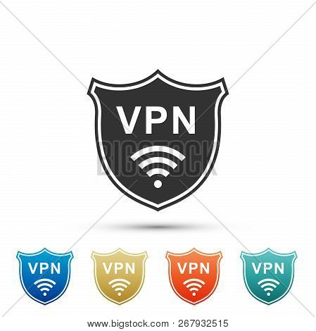 Shield With Vpn And Wifi Wireless Internet Network Symbol Icon Isolated On White Background. Vpn Pro
