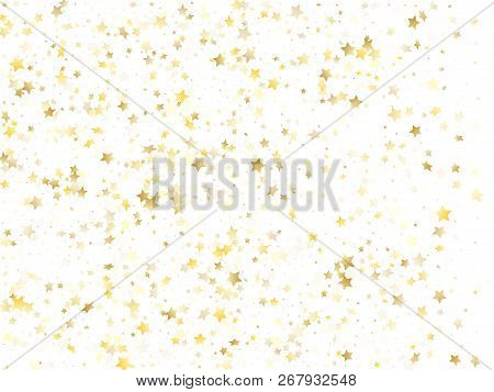 Flying Gold Star Sparkle Vector With White Background. Holiday Gold Gradient Christmas Sparkles Glit
