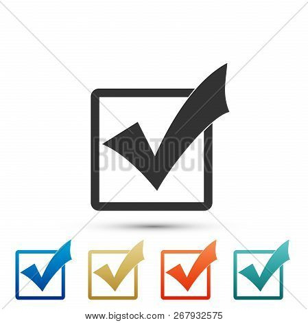 Check Mark In A Box Icon Isolated On White Background. Tick Symbol. Check List Button Sign. Set Elem