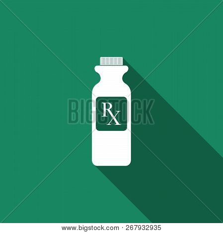 Pill Bottle With Rx Sign And Pills Icon Isolated With Long Shadow. Pharmacy Design. Rx As A Prescrip