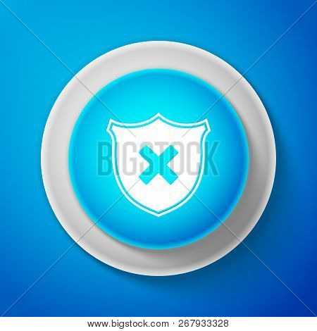 Shield And Cross X Mark Icon Isolated On Blue Background. Denied Disapproved Sign. Protection And Sa