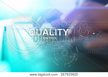 Quality control check box. Guarantee Assurance. Standards, ISO. Business and technology concept. poster