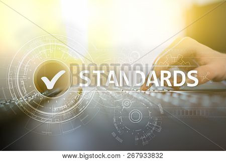 Standards, Quality Control, Assurance, ISO, Checkbox on virtual screen. poster