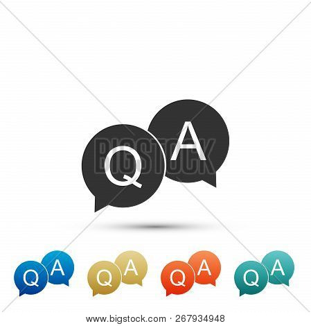 Question And Answer Mark In Speech Bubble Icon Isolated On White Background. Q And A Symbol. Set Ele