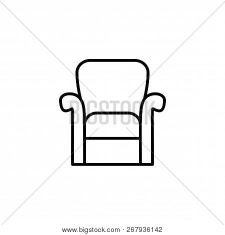Black & White Vector Illustration Of Classic Armchair With High Back. Line Icon Of Arm Chair Seat. U