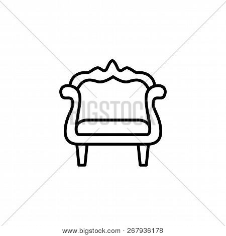 Black & White Vector Illustration Of Vintage Wooden Armchair With Decorative High Back. Line Icon Of