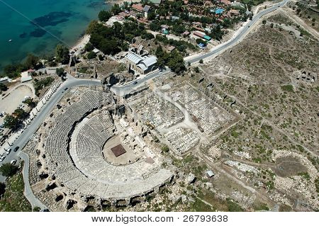 elevated view of an antique theatre from Antalya, Turkey