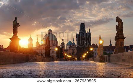 Charles Bridge In Prague At Dawn. Czech Republic