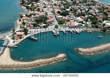 elevated view of old city and harbour from Antalya, Turkey