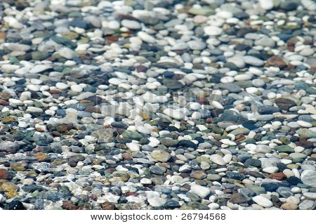 detail shot of pebbles in the sea