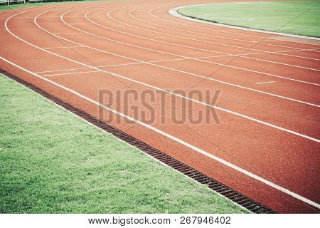 Running Track For Athletic Competition Texture. Race For Training Sport With Lane Background Copy Sp