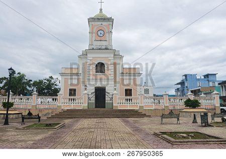 Landmark Cathedral Exterior And Ballustrade In Plaza Of Fajardo Puerto Rico