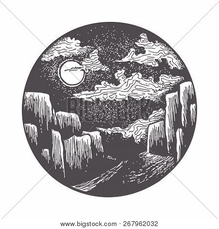 Moon Illuminating The Road To The Gorge. Night Landscape In Classic Ink Technique In Vector Format.