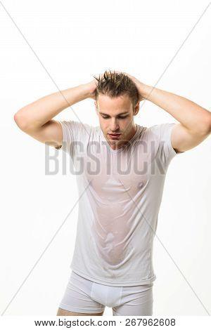 Man In White Underwear. Sexy Muscle Man In Underwear And Wet White T-shirt. Masculinity, Power, Stre