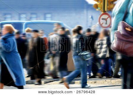 ein Bild von Menschen zu Fuß Rush hour