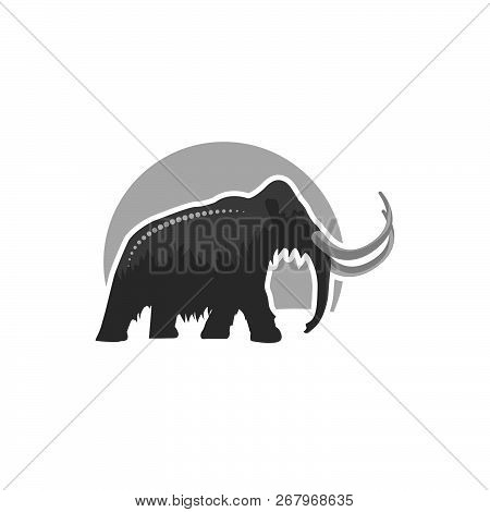 Mammoth Icon Black And Grey Color  In Illustrator Design Isolated On White Background. Dinosaurs And