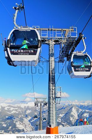 Zell Am See, Austria - February 18, 2018: Trassxpress Gondola Ski Lift. A View Of The Trassxpress Go