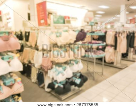 Blurry Background Bra And Panties In Underwear Shop In Texas, America