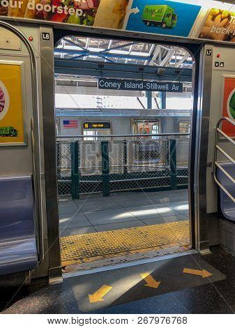 New York City - October 14, 2018: Coney Island-stillwell Av Station, Last Station Stop In Brooklyn I