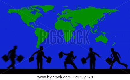 an image of business people and world map