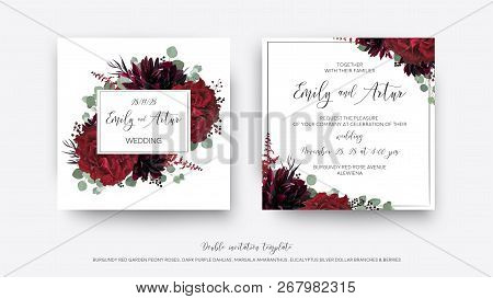 Wedding Vector Floral Invite, Invitation Save The Date Card  Modern Design: Garden Red Rose Flower,