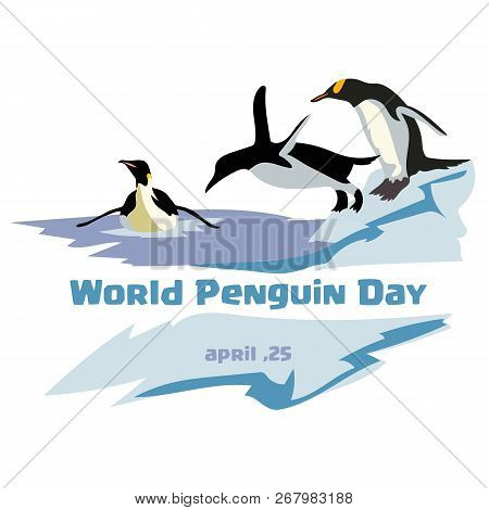 World Penguin Day. Jumping And Swimming Penguin On A Blue Background. Iceberg Background.