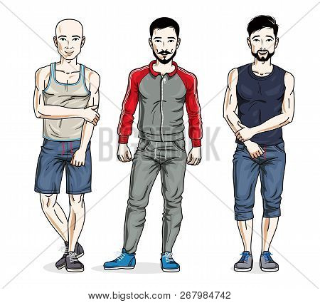 Confident Handsome Men Posing In Stylish Sportswear, Sportsman And Fitness People. Vector Set Of Bea