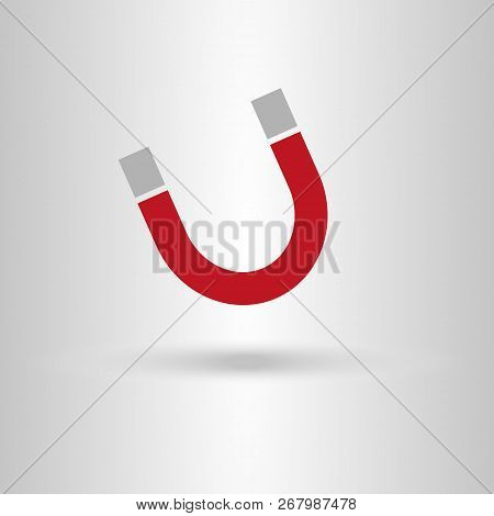 Magnet Icon. Magnet Sign On Grey Background.